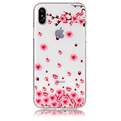 Кейс для Назначение Apple iPhone X iPhone 8 Ультратонкий Прозрачный Рельефный С узором Задняя крышка Цветы Мягкий TPU для iPhone X iPhone