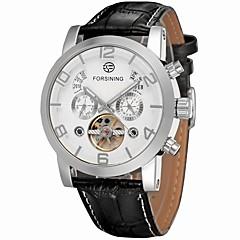 お買い得  メンズ腕時計-FORSINING 男性用 ファッションウォッチ / ドレスウォッチ / リストウォッチ カレンダー / 透かし加工 レザー バンド ぜいたく / カジュアル / エレガント ブラック / 自動巻き
