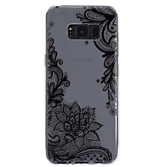 olcso Galaxy S6 tokok-Case Kompatibilitás Samsung Galaxy S8 Plus S8 Átlátszó Minta Dombornyomott Fekete tok csipke nyomtatás Puha TPU mert S8 Plus S8 S7 edge