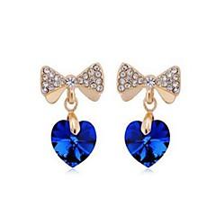 preiswerte Ohrringe-Damen Kristall Tropfen-Ohrringe - Krystall, Diamantimitate Herz, Schleife Klassisch, Modisch Gold Für Alltag