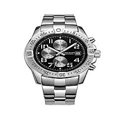お買い得  大特価腕時計-MEGIR 男性用 リストウォッチ クォーツ カレンダー クール ハンズ カジュアル ファッション - ブラック ブラック / シルバー ホワイト / シルバー / ステンレス