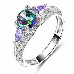 preiswerte Ringe-Damen Statement-Ring Kubikzirkonia Verschiedene Farben Glas Aleación Geometrische Form Formell Freizeit Elegant Modisch Cool Hochzeit