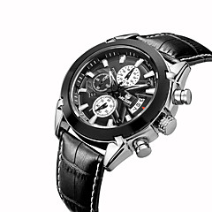 お買い得  メンズ腕時計-MEGIR 男性用 リストウォッチ クォーツ カレンダー クール レザー バンド ハンズ カジュアル ファッション ブラック - ホワイト ブラック / ステンレス