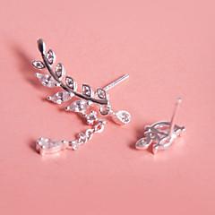 Women's Stud Earrings Drop Earrings Cubic Zirconia Sweet Elegant Silver Zircon Leaf Tree of Life Jewelry For Daily Date