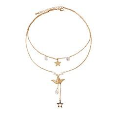 お買い得  ネックレス-女性用 星形 合成ダイヤモンド 人造真珠 人造真珠 イミテーションダイヤモンド レイヤードネックレス  -  クラシック ファッション 翼 / 羽 ゴールド ネックレス 用途 日常 お出かけ
