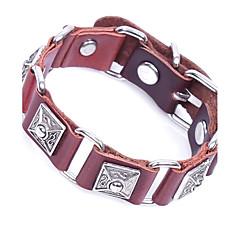 preiswerte Armbänder-Herrn Niete / Geometrisch Armband / Gliederarmband - Leder Retro, Rockig Armbänder Schwarz / Kaffee Für Normal / Klub