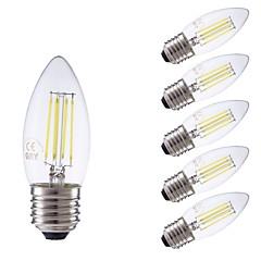 お買い得  LED 電球-GMY® 6本 3.5W 400lm E27 フィラメントタイプLED電球 C35 4 LEDビーズ COB 調光可能 装飾用 LEDライト クールホワイト 220-240V