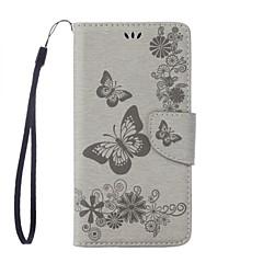 Недорогие Чехлы и кейсы для Motorola-Кейс для Назначение Motorola G5 Plus G4 Plus Бумажник для карт Кошелек со стендом Флип Рельефный Чехол Бабочка Твердый Кожа PU для Мото