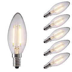 お買い得  LED 電球-GMY® 6本 2W 200lm E14 フィラメントタイプLED電球 C35 2 LEDビーズ COB 装飾用 LEDライト 温白色 220-240V