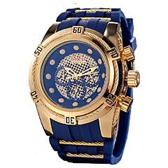 お買い得  大特価腕時計-男性用 クォーツ スポーツウォッチ 日本産 カレンダー クロノグラフ付き 耐水 シリコーン バンド カジュアル ファッション クール ブラック ブルー