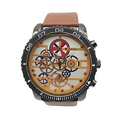 お買い得  大特価腕時計-JUBAOLI 男性用 リストウォッチ 中国 クール / 大きめ文字盤 合金 / レザー バンド ヴィンテージ / ユニーククリエイティブウォッチ オレンジ