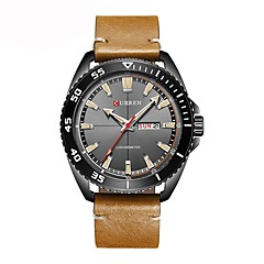 Herrn Kinder Modeuhr Kleideruhr Armbanduhr Japanisch Quartz Kalender Chronograph Wasserdicht Armbanduhren für den Alltag Echtes Leder Band