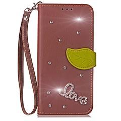 Недорогие Чехлы и кейсы для LG-Кейс для Назначение LG G2 LG G3 LG LG G5 LG G4 G6 Бумажник для карт Кошелек Стразы со стендом Флип Чехол Сплошной цвет Твердый Кожа PU для