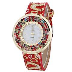 preiswerte Damenuhren-Damen Modeuhr / Einzigartige kreative Uhr / Simulierter Diamant Uhr Chinesisch Chronograph / Armbanduhren für den Alltag PU Band Freizeit / Mehrfarbig Schwarz / Weiß / Blau / Edelstahl