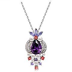preiswerte Halsketten-Damen Kristall / Kubikzirkonia Anhängerketten - Krystall, Zirkon, versilbert Klassisch Regenbogen Modische Halsketten Für Party, Abiball