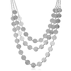 お買い得  ネックレス-女性用 円形 多層式 特大の ステートメントネックレス , 合金 ステートメントネックレス 、 パーティー