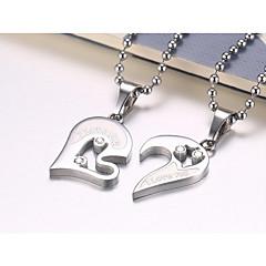 preiswerte Halsketten-Herrn Damen Kubikzirkonia Anhängerketten - Edelstahl Herz Modisch Schwarz, Silber, Hellblau Modische Halsketten Schmuck 2 Für Geschenk, Valentinstag