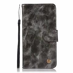 Недорогие Чехлы и кейсы для LG-Кейс для Назначение LG LG K10 StyLo 3 Q6 Plus Бумажник для карт Кошелек со стендом Флип Чехол Сплошной цвет Твердый Кожа PU для LG X