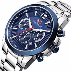 preiswerte Herrenuhren-MINI FOCUS Herrn Quartz Armbanduhr Chinesisch Kalender Wasserdicht Armbanduhren für den Alltag Nachts leuchtend Stopuhr Edelstahl Band