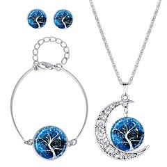 tanie Zestawy biżuterii-Damskie Biżuteria Ustaw 1 Naszyjnik / 1 Bransoletka / Náušnice - Klasyczny / Modny Circle Shape Dark Blue / Brown Kolczyki na sztyft /