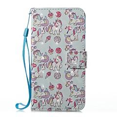 Недорогие Кейсы для iPhone 7 Plus-Кейс для Назначение Apple iPhone X iPhone 8 Бумажник для карт Кошелек со стендом Чехол единорогом Твердый Кожа PU для iPhone 8 Pluss