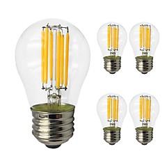 お買い得  LED 電球-5個 6W 560lm E27 フィラメントタイプLED電球 G45 6 LEDビーズ COB エジソン球根 LEDライト 温白色 クールホワイト 220-240V