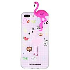 Недорогие Кейсы для iPhone X-Кейс для Назначение Apple iPhone 6 iPhone 7 С узором Своими руками Кейс на заднюю панель Фламинго 3D в мультяшном стиле Животное Мягкий