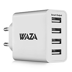 cheap Tablet Chargers-WAZA 25W Wall Charger 4-Port Output Travel Charger 2.4A Max Smart Output Each Port For iPhone, Galaxy, LG, Piexl, Moto etc.