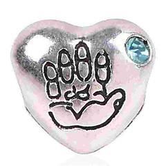 お買い得  ビーズ&ジュエリー製作-DIYジュエリー 1 個 ビーズ イミテーションダイヤモンド 合金 ブルー ライトピンク ハート ビーズ 0.5 cm DIY ネックレス ブレスレット