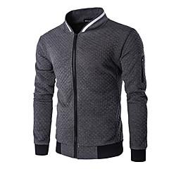 voordelige Herenhoodies & Sweatshirts-Heren Standaard Broek - Effen Wit / Opstaand / Lange mouw / Herfst
