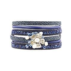 preiswerte Armbänder-Damen Wickelarmbänder - Perle, Leder, vergoldet Blume Retro, Böhmische, Boho Armbänder Braun / Grün / Blau Für Festtage Ausgehen