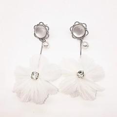 preiswerte Ohrringe-Damen Perle Lang Tropfen-Ohrringe - Künstliche Perle Blumen / Botanik, Blume Modisch Weiß Für Normal