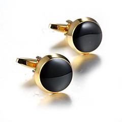 お買い得  カフス-円形 ゴールデン カフスボタン アクリル 銅 ファッション ドレスウェア 日常 フォーマル 男性用 コスチュームジュエリー