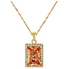 preiswerte Halsketten-Damen Kristall / Kubikzirkonia Anhängerketten - Krystall, Zirkon, vergoldet Klassisch Gelb Modische Halsketten Für Party, Geschenk