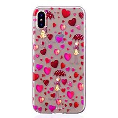 Недорогие Кейсы для iPhone 5-Кейс для Назначение Apple iPhone X iPhone 8 Защита от удара Ультратонкий С узором Задняя крышка С сердцем Мягкий TPU для iPhone X iPhone