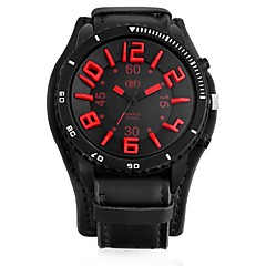cheap Watch Deals-Men's Quartz Military Watch Chinese Casual Watch Leather Band Cool Black