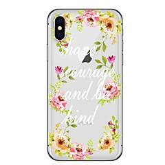 Недорогие Кейсы для iPhone 6-Кейс для Назначение Apple iPhone X iPhone 8 Plus С узором Кейс на заднюю панель Слова / выражения Цветы Мягкий ТПУ для iPhone X iPhone 8