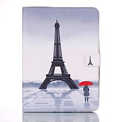 Недорогие Чехлы и кейсы для Galaxy Tab 4 10.1-Кейс для Назначение Samsung Tab 4 10.1 Кошелек / Бумажник для карт / со стендом Чехол Эйфелева башня Твердый Кожа PU для Tab 4 10.1