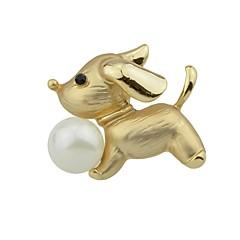 お買い得  ブローチ-女性用 ブローチ 人造真珠 , シンプル ベーシック 合金 犬 ジュエリー 用途 日常 新年