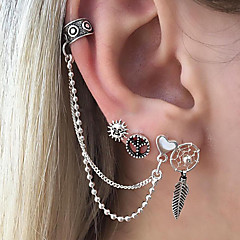 preiswerte Ohrringe-Herrn / Damen Ohrstecker / Ohr-Stulpen - Blattform, Sonne, Herz Modisch Silber Für Geschenk / Alltag
