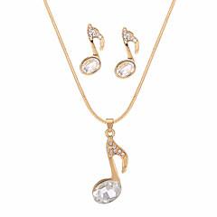 abordables Conjuntos de Joyas-Mujer Juego de Joyas Cristal Regalo Fiesta de Noche Enamorado Legierung Nota Musical 1 Collar Pendientes