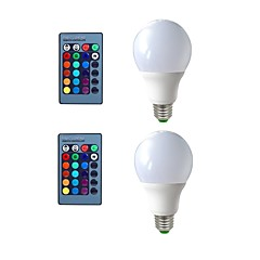 cheap LED Bulbs-2pcs 5W 270 lm E26/E27 LED Globe Bulbs 3 leds Decorative Remote-Controlled RGB 200-240V 110-120V 110-130V 220-240V