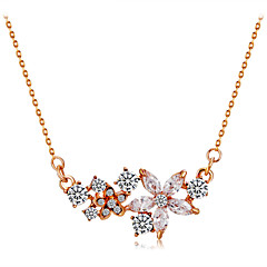 preiswerte Halsketten-Damen Kristall / Kubikzirkonia Anhängerketten - Roségold, Krystall, Zirkon Blume Klassisch, Modisch Gold Modische Halsketten Für Zeremonie, Formal
