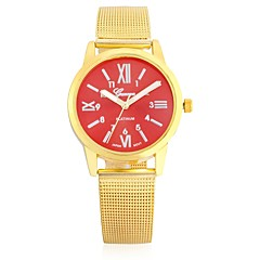 preiswerte Herrenuhren-JUBAOLI Herrn Damen Armbanduhren für den Alltag Quartz Armbanduhren für den Alltag Cool Legierung Band Analog Glanz Braun / Gold - Rot Blau