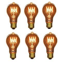 abordables LED e Iluminación-6pcs 40W E26/E27 A60(A19) Blanco Cálido 2200-2700 K Retro Regulable Decorativa Bombilla incandescente Vintage Edison 220-240V V