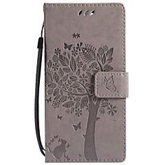 Недорогие Чехлы и кейсы для Sony-Кейс для Назначение Sony Xperia XZ1 Compact Xperia L2 Бумажник для карт Кошелек со стендом Флип С узором Чехол Кот дерево Твердый Кожа PU