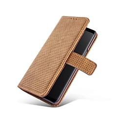 Недорогие Кейсы для iPhone-Кейс для Назначение SSamsung Galaxy S9 Plus / S9 Кошелек / Бумажник для карт / со стендом Чехол Сплошной цвет Твердый Настоящая кожа для S9 / S9 Plus / S8 Plus