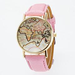 お買い得  メンズ腕時計-男性用 女性用 ファッションウォッチ クォーツ ブラック / ブルー / レッド カジュアルウォッチ ハンズ ヴィンテージ 世界地図柄 - ライトブルー カーキ色 ライトグリーン