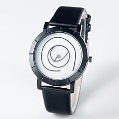 preiswerte Damenuhren-Herrn Damen Armbanduhren für den Alltag Japanisch Quartz 30 m Armbanduhren für den Alltag Echtes Leder Band Analog Modisch Schwarz - Schwarz / Weiß Ein Jahr Batterielebensdauer