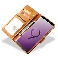 voordelige Galaxy S6 Edge Hoesjes / covers-hoesje Voor Samsung Galaxy S9 S9 Plus Kaarthouder Portemonnee Schokbestendig Flip Volledig hoesje Effen Kleur Hard aitoa nahkaa voor S9